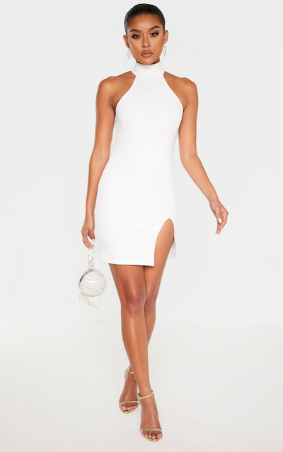 White Bandage Rib High Neck Cup Binding Bodycon Dress