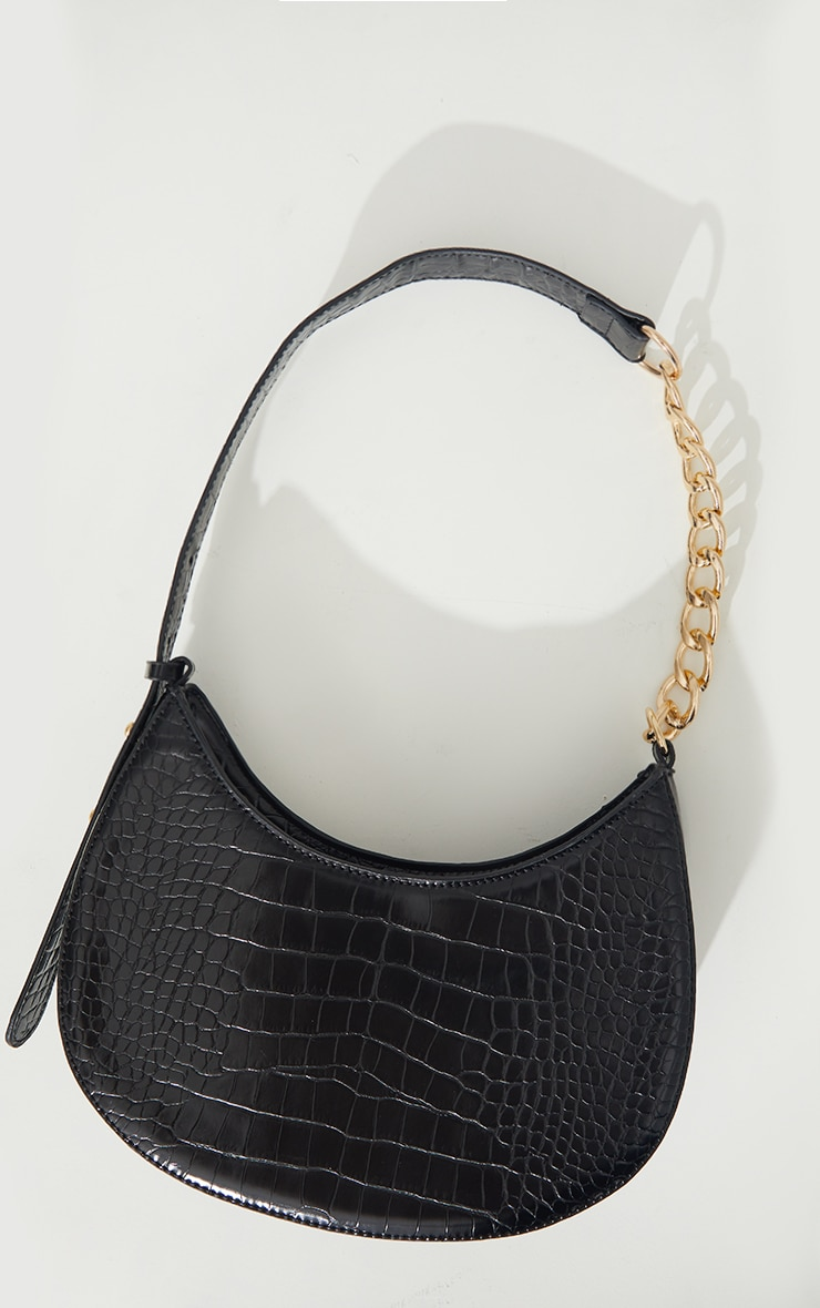 Black Croc Crescent Mixed Chain Strap Shoulder Bag 2