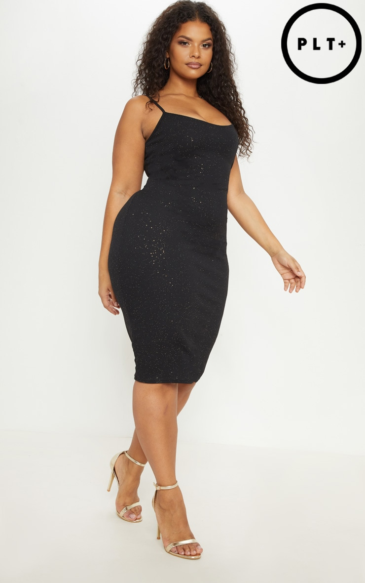 Plus Black Glitter Strappy Midi Dress