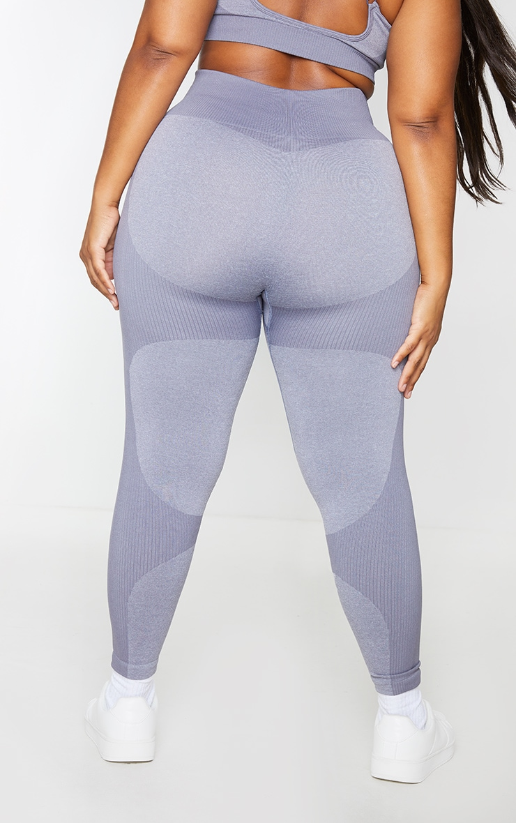 Plus Charcoal Seamless 2 Tone Contour Leggings 3
