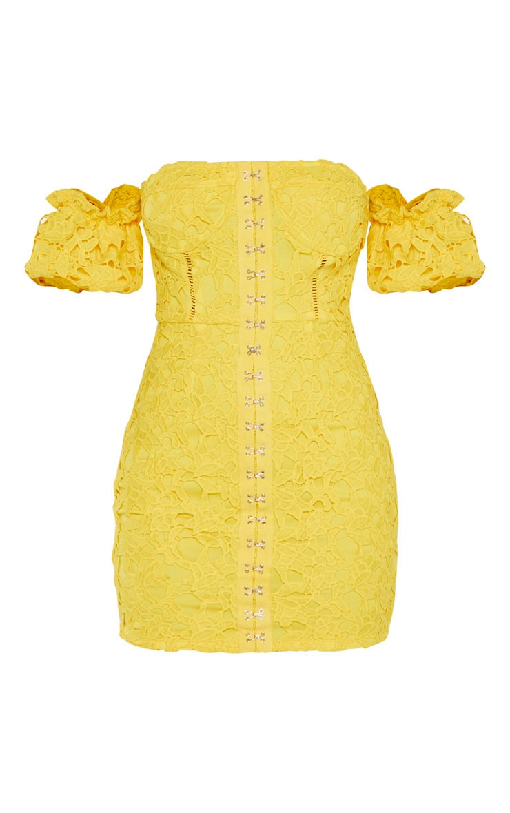 Bright Yellow Embroidered Lace Puff Sleeve Hook & Eye Bodycon Dress 3