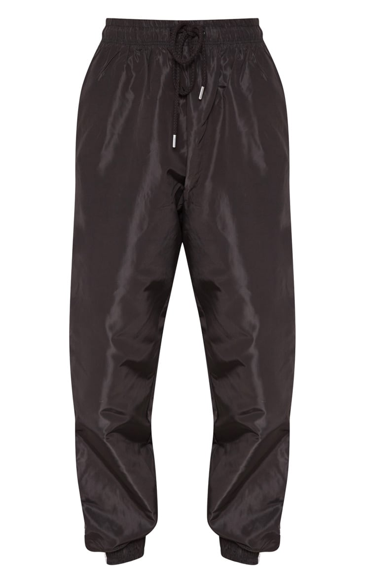 Black Contrast Side Stripe Shell Joggers 3