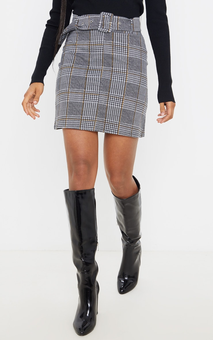 Grey Check Belted Mini Skirt 2
