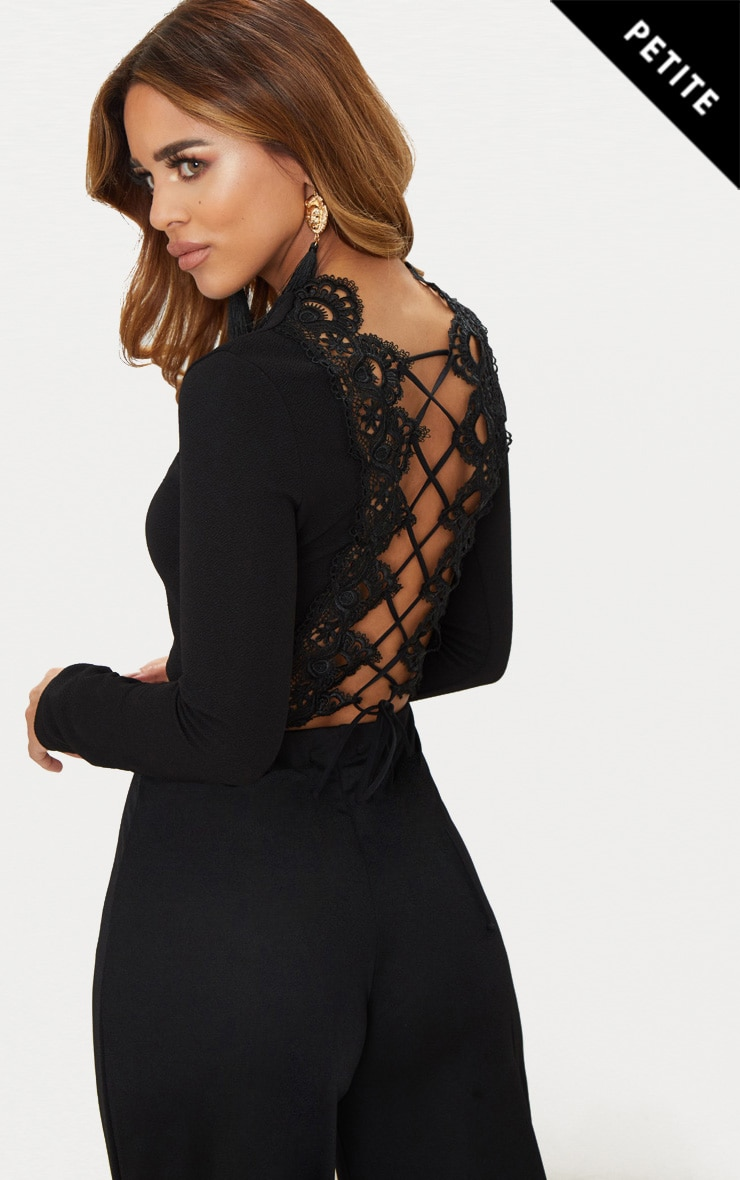 2704a6338a Petite Black Lace Up Back Long Sleeve Crop Top image 1