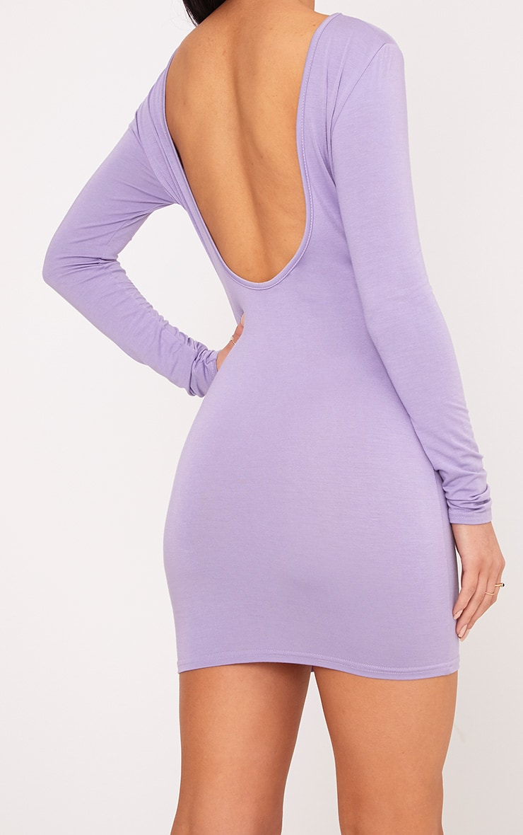Basic Lilac Scoop Back Bodycon Dress 4