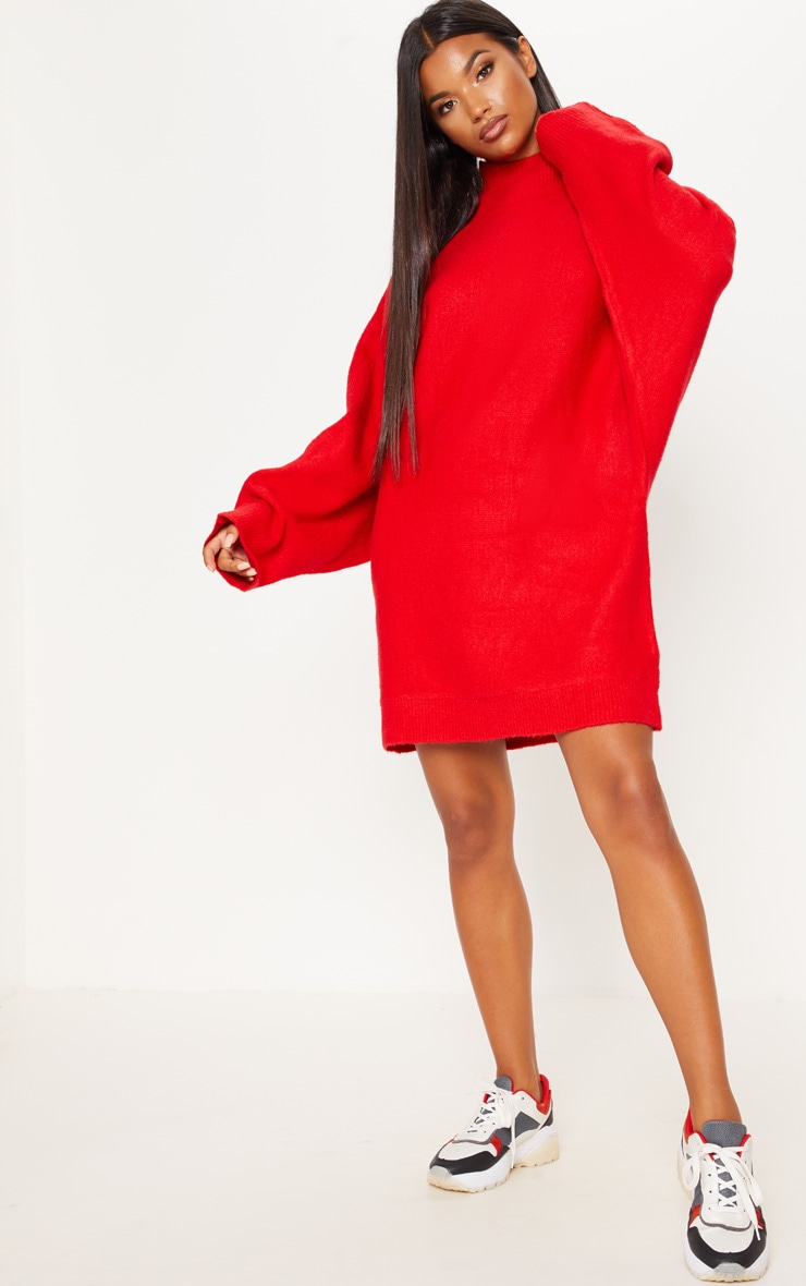 Red Knitted Jumper Dress  3
