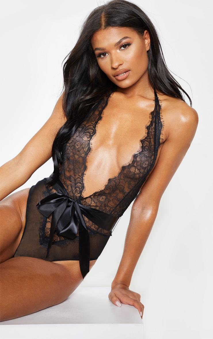Black Lace Tie Waist Body 1