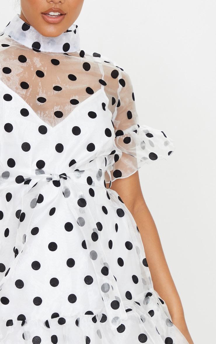 White Polka Dot Organza Frill Hem Smock Dress 5