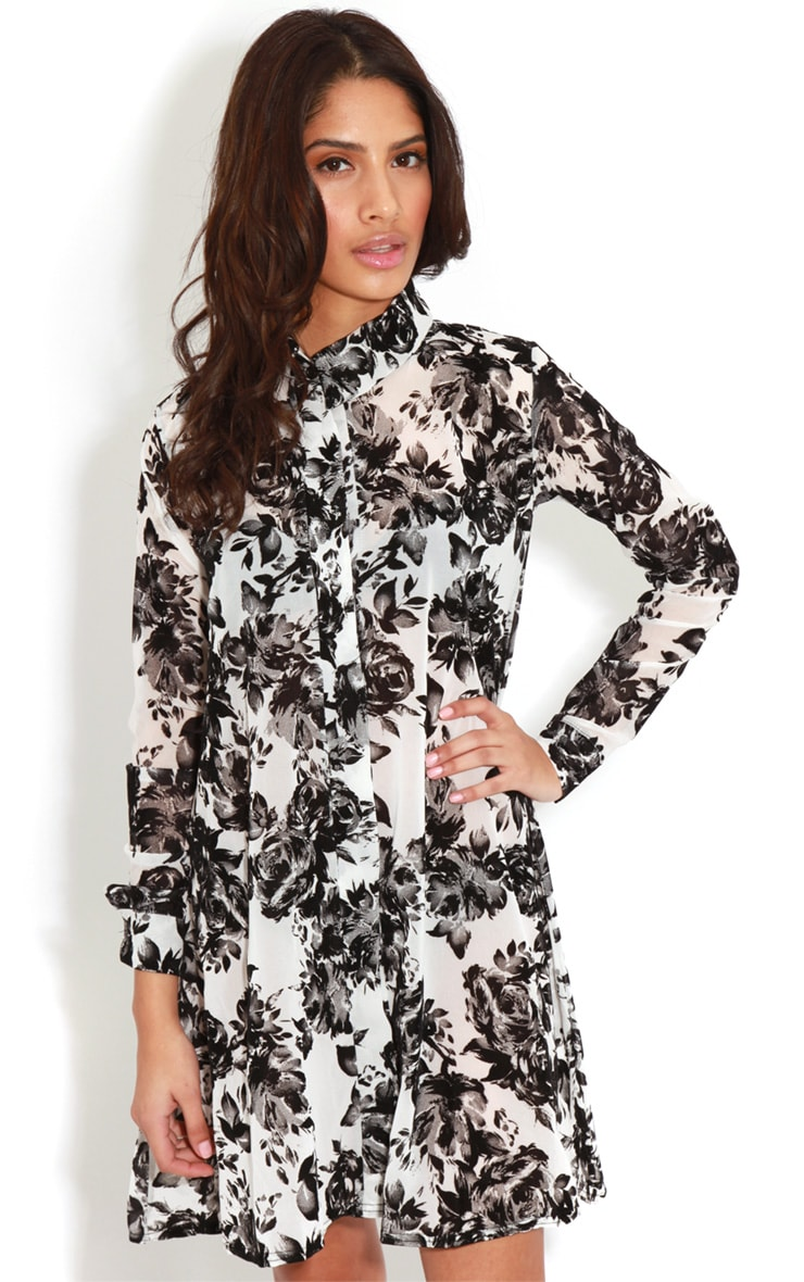 Brianna Monochrome Floral Shirt Dress -16 4