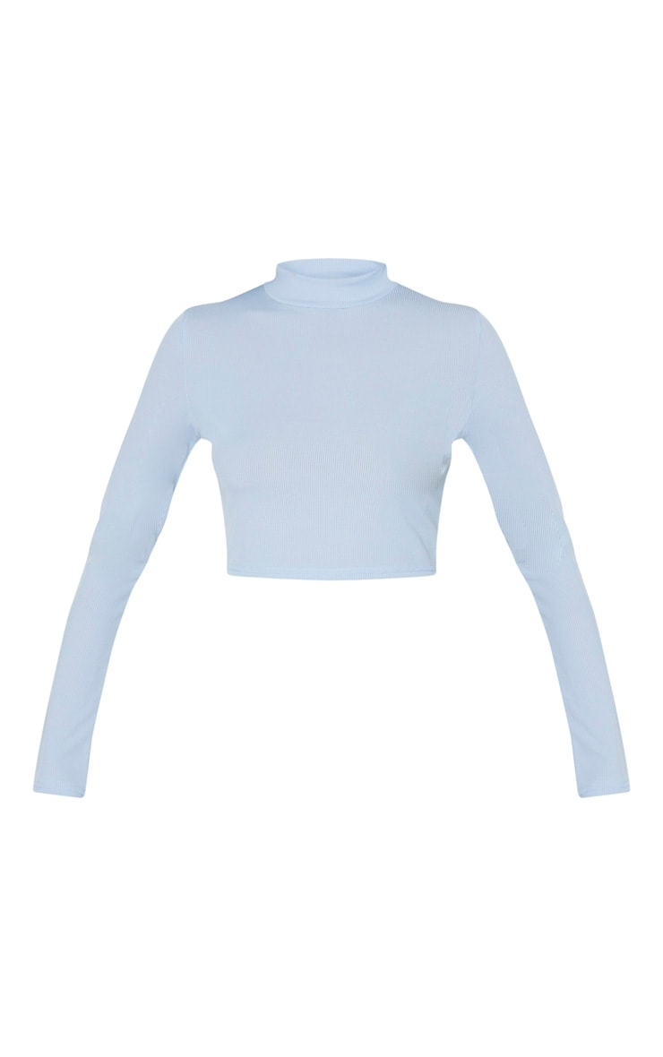 Baby Blue High Neck Ribbed Long Sleeve Crop Top 5