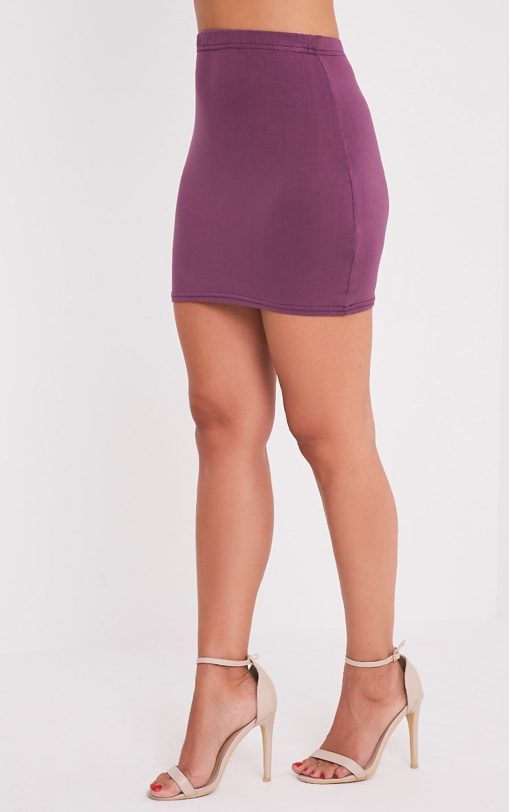 Basic Aubergine Jersey Mini Skirt 4
