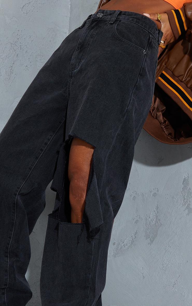 Washed Black Extreme Knee Rip Boyfriend Jeans 4