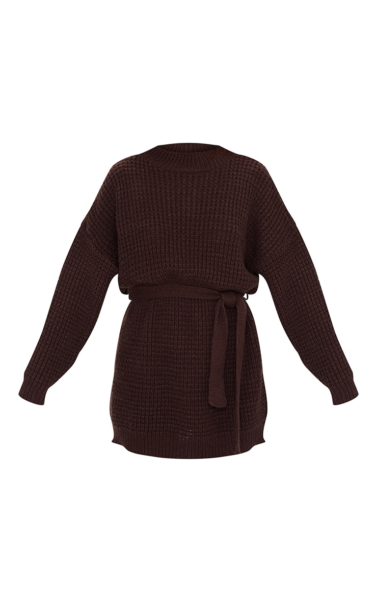 Chocolate Soft Touch Belted Knitted Jumper Dress 5