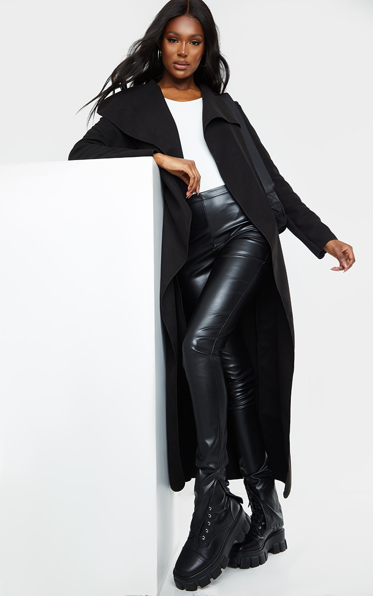 Tall Black Maxi Length Oversized Waterfall Belted Coat 1