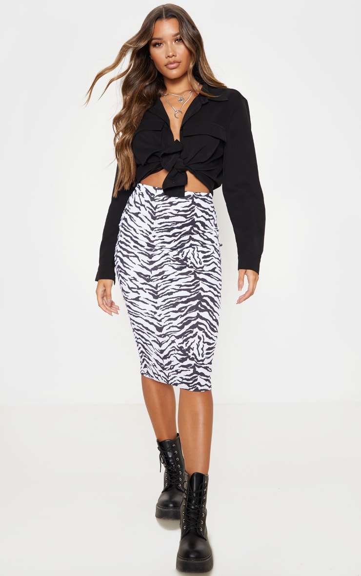 Monochrome Zebra Print Ribbed Midi Skirt  1