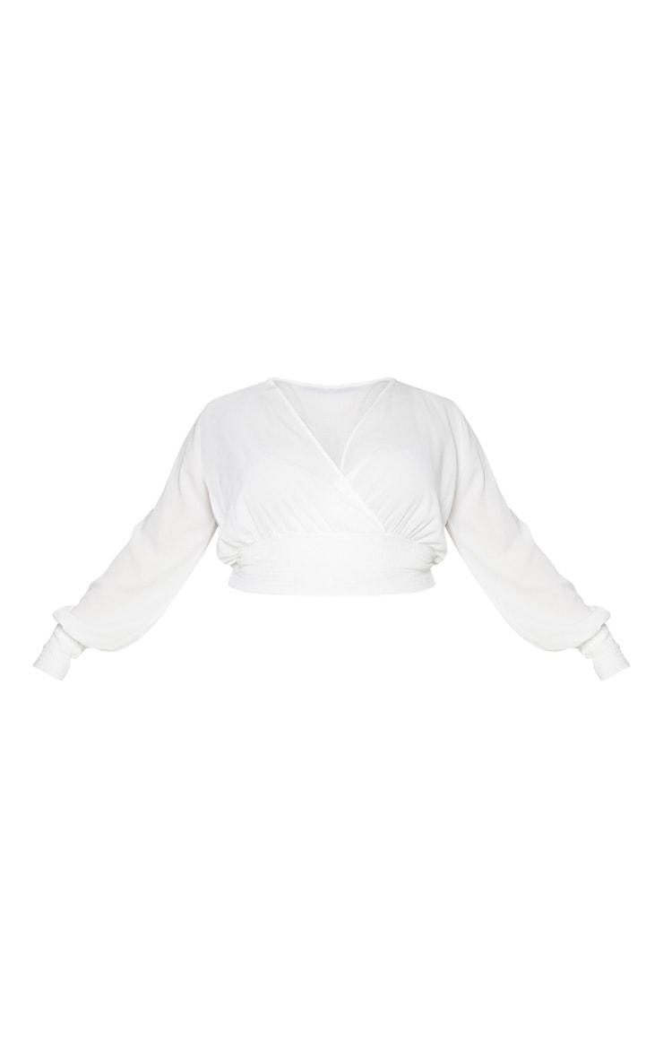 Plus White Chiffon Shirred Sleeve Blouse 5