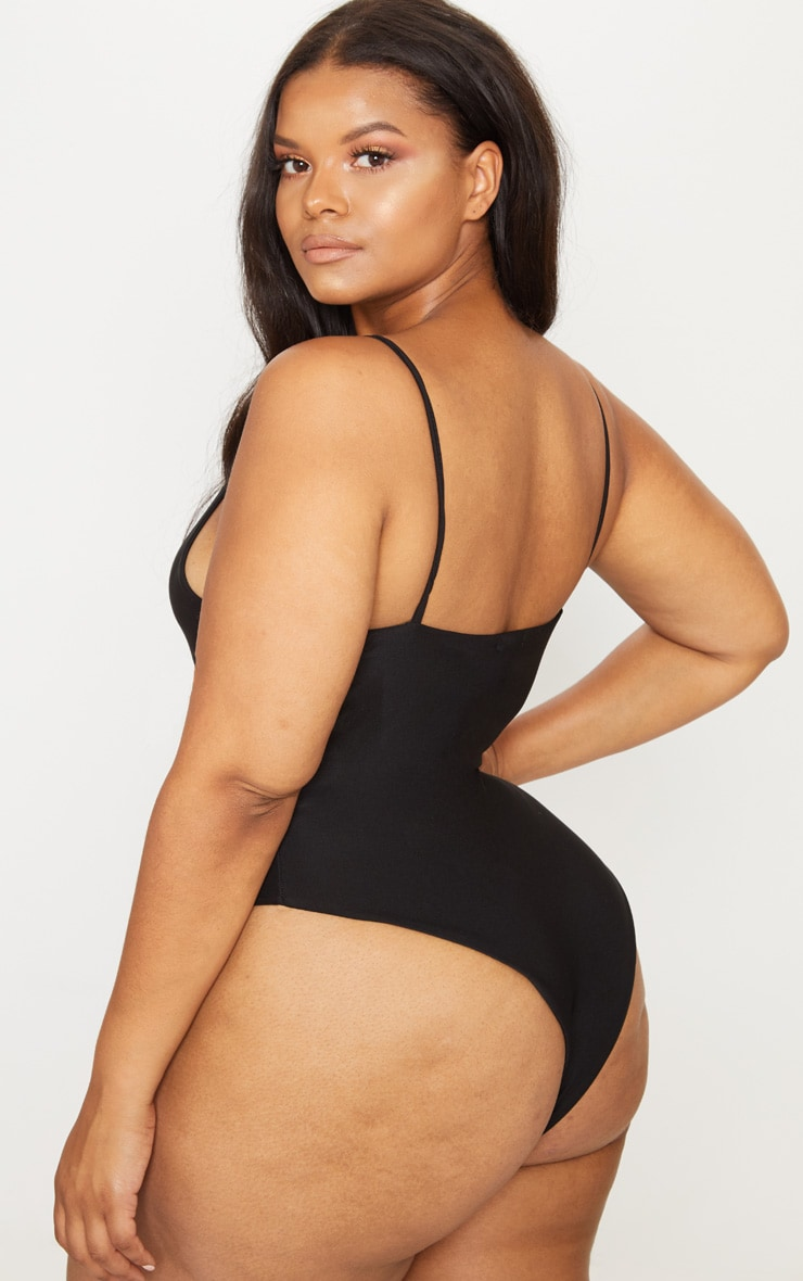 Plus Black Asymmetric Lace Up Swimsuit 2