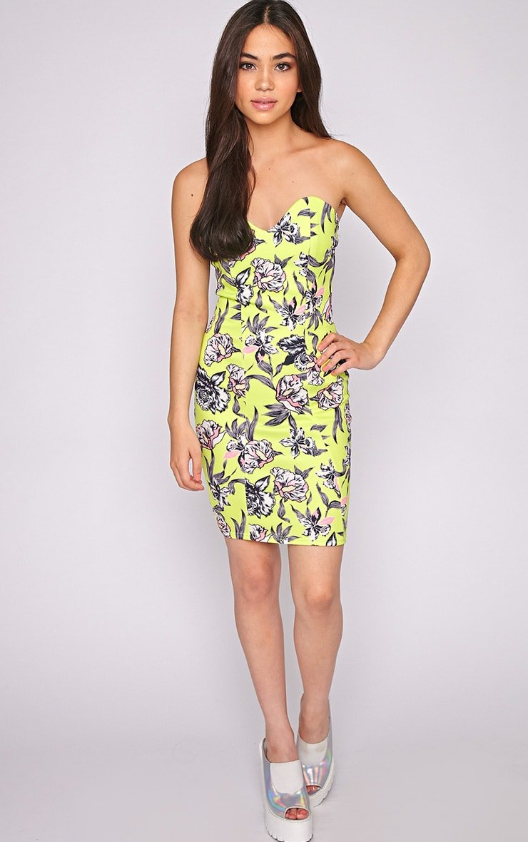 Jamie Lime Floral Strapless Dress 3