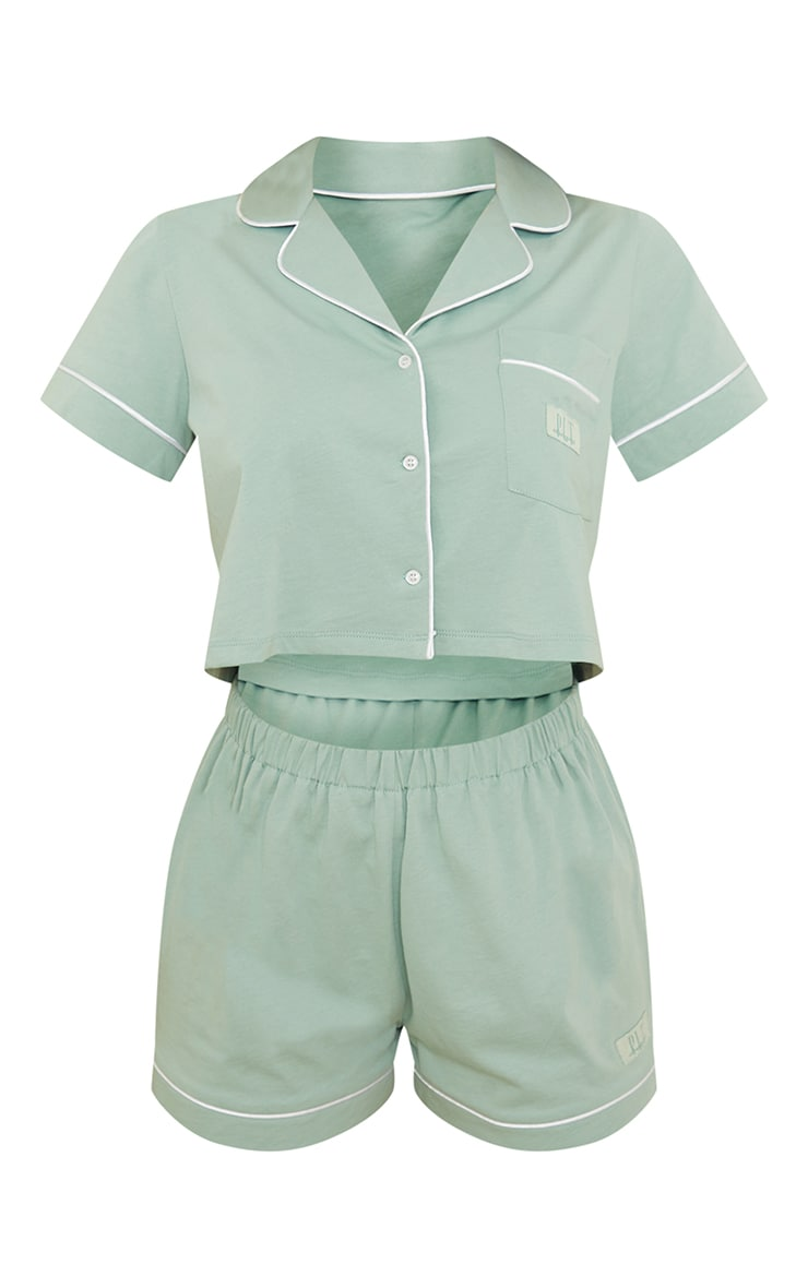 PRETTYLITTLETHING Dreams Sage Green Badge Cropped Jersey PJ Set 5