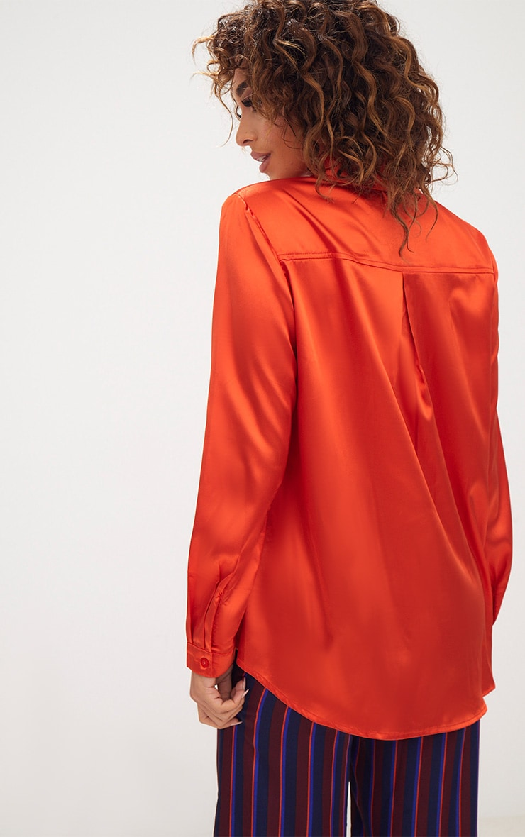 Orange Satin Button Front Shirt 3