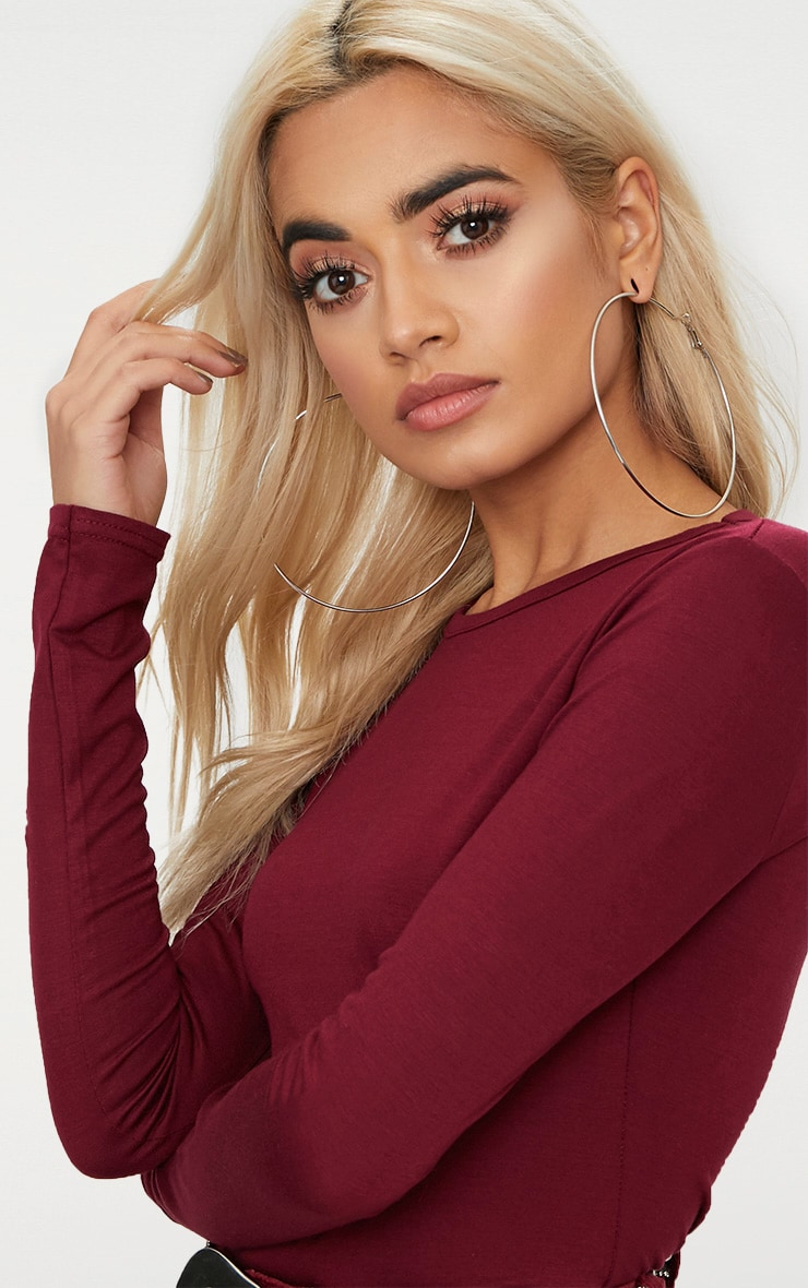 Basic Maroon Longsleeve Fitted T Shirt  5