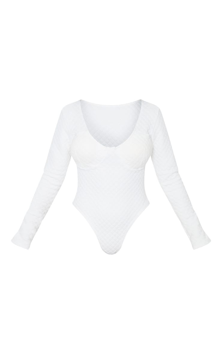 Petite White Quilted Cup Detail Bodysuit 5