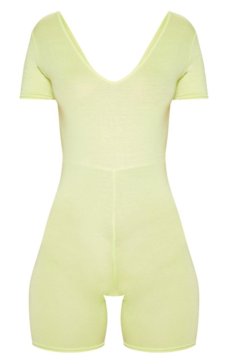 Light Lime V Neck Short Sleeve Jersey Unitard 3
