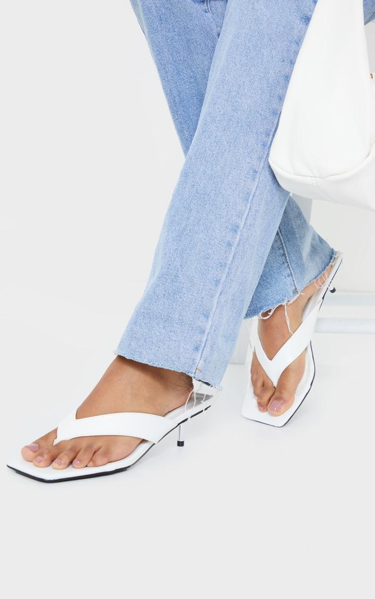 White Mini Pin Heel Square Toe Thong Heels 1