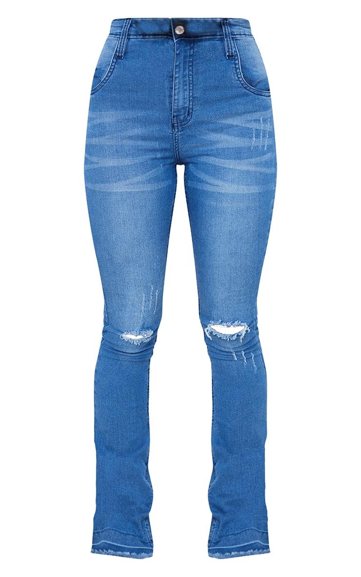 Mid Blue Distressed Knee Flare Jeans 5