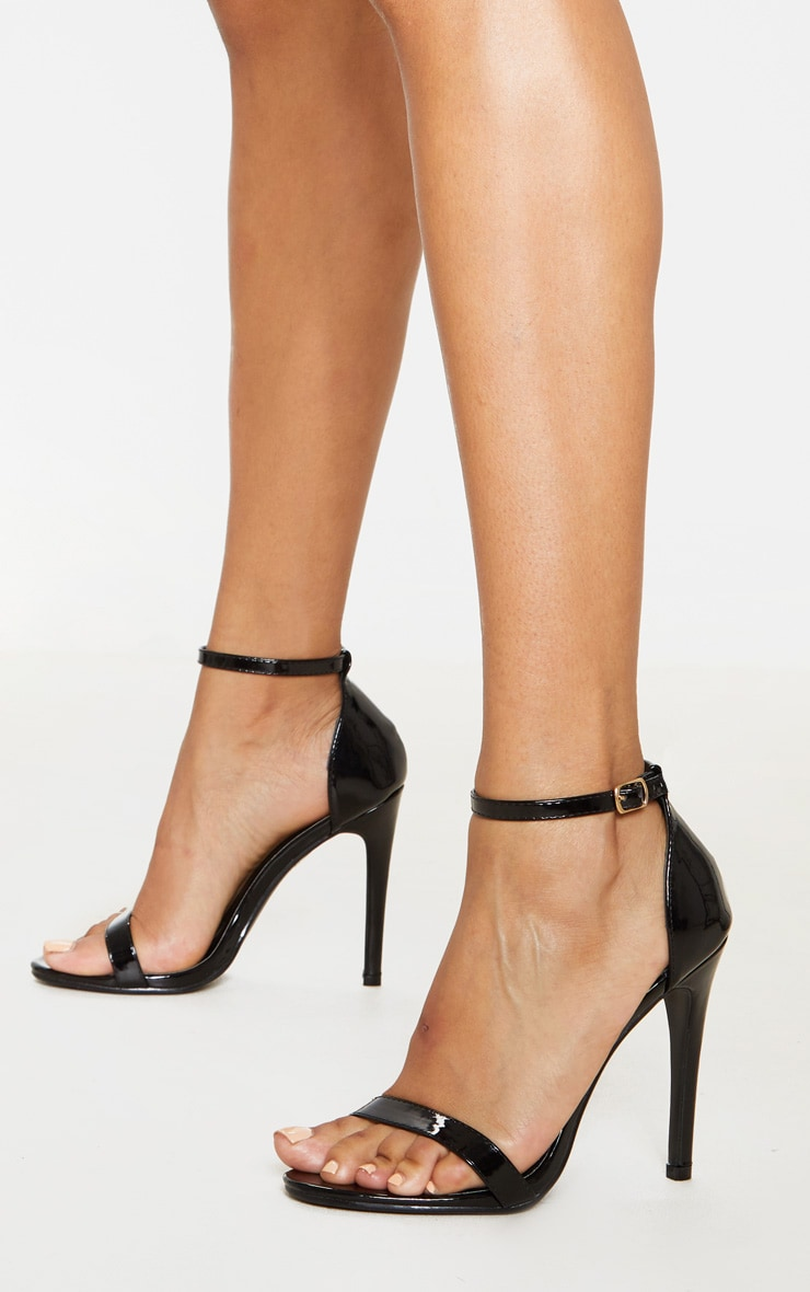 Clover Black Patent Heeled Strappy Sandal 1