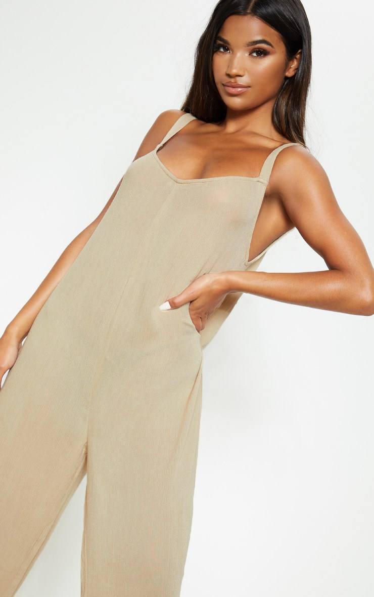 Stone Woven Culotte Slouchy Jumpsuit 5
