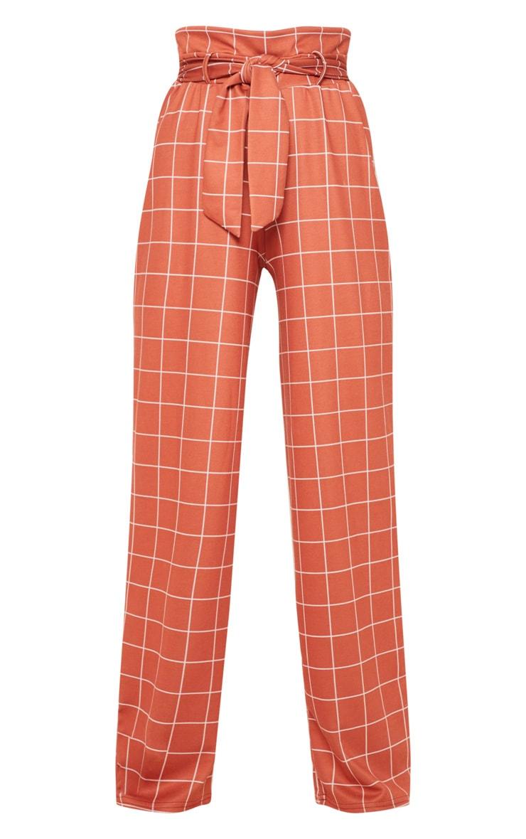 Rust Paperbag Waist Check Print Wide Leg Pants 3