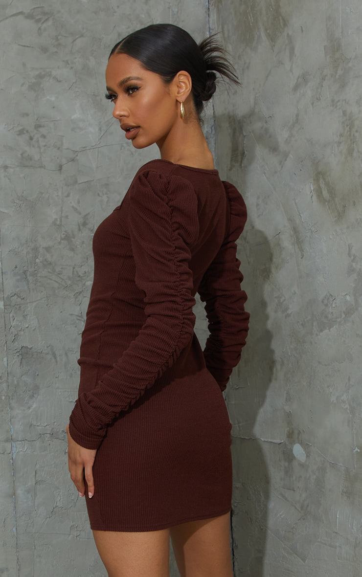Chocolate Crinkle Rib Ruched Sleeve Square Neck Bodycon Dress 2