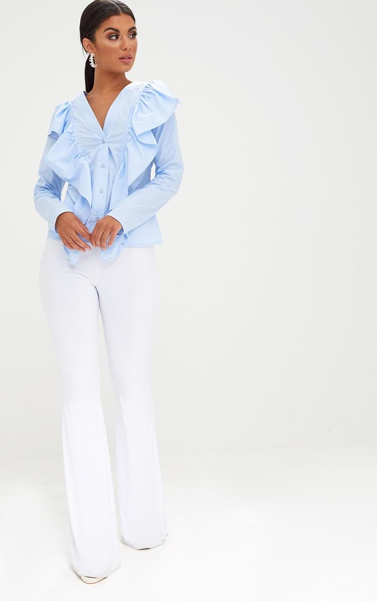 Pale Blue Frill Front V Neck Shirt  4