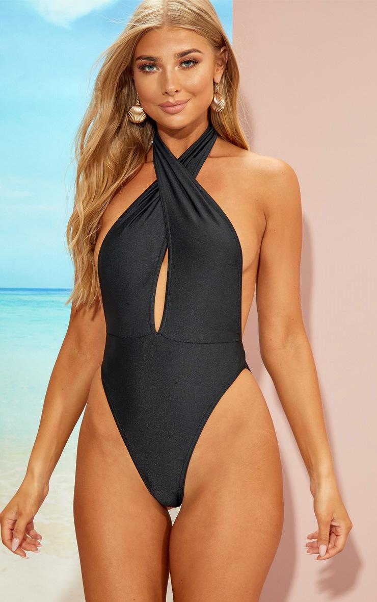 Black Wrap Front Plunge Swimsuit 1