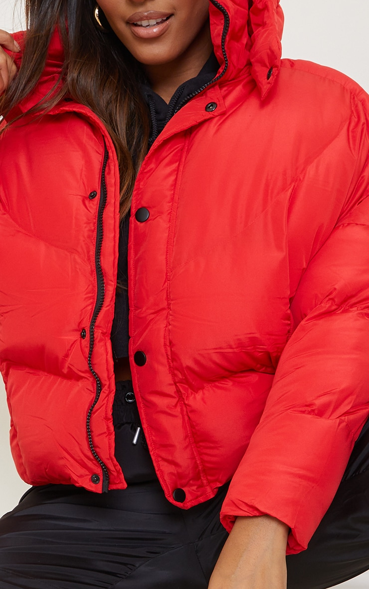 Red Nylon Oversized Curved Panel Wadded Puffer Jacket 4