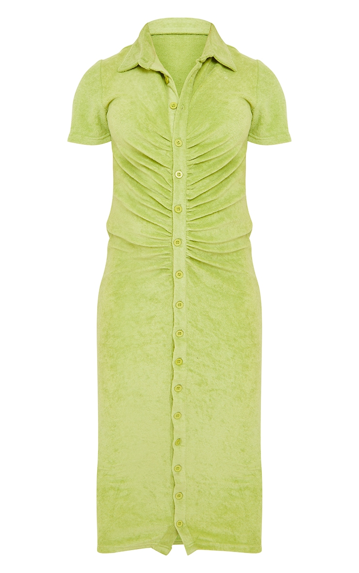 Maternity Sage Green Ruched Bump Midi Shirt Dress 5