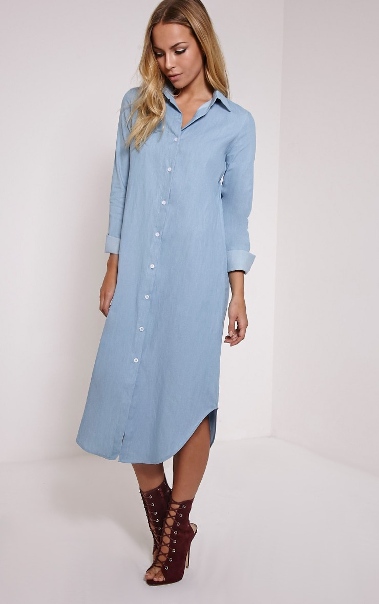 Ania Light Blue Denim Maxi Shirt Dress 1
