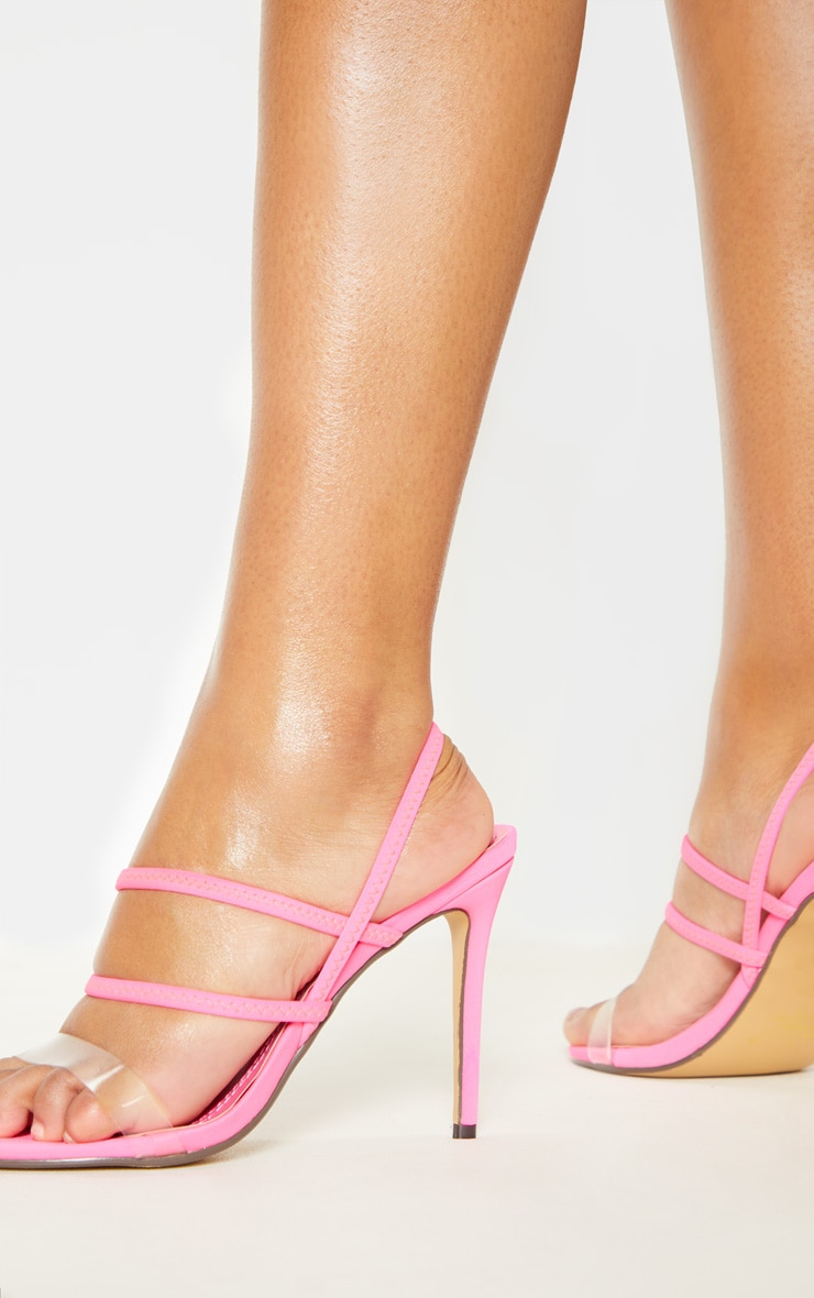 Neon Pink Slingback Strappy Sandal 2