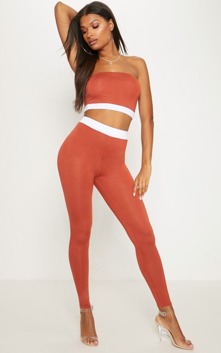 Rust Contrast Waist Band Leggings