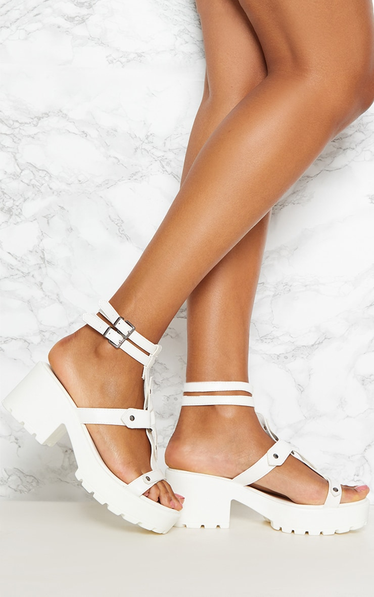 White Ring Detail Gladiator Chunky Sandal 1