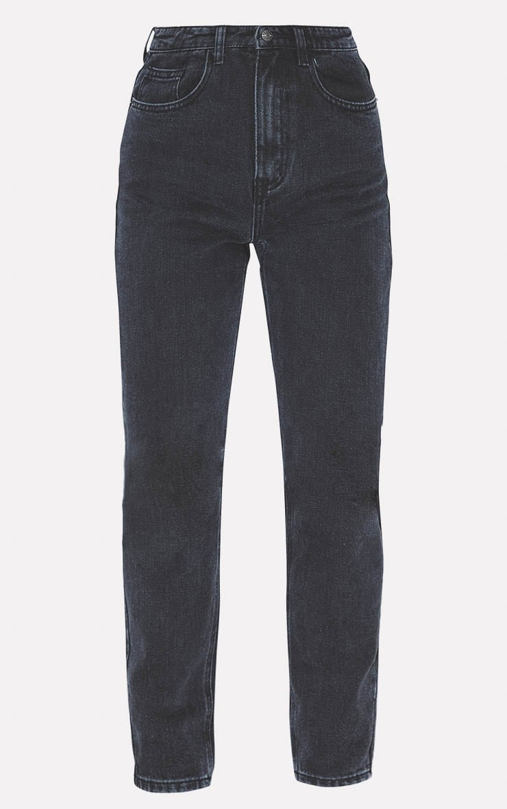 PRETTYLITTLETHING Washed Black Mom Jean 3
