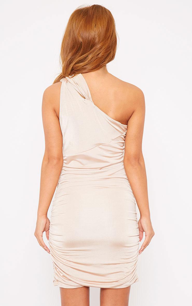Skye Stone Slinky Gathered One Shoulder Dress 2