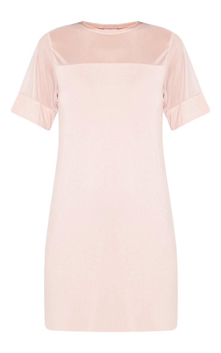 Narla robe t-shirt à empiècements en tulle chair 3