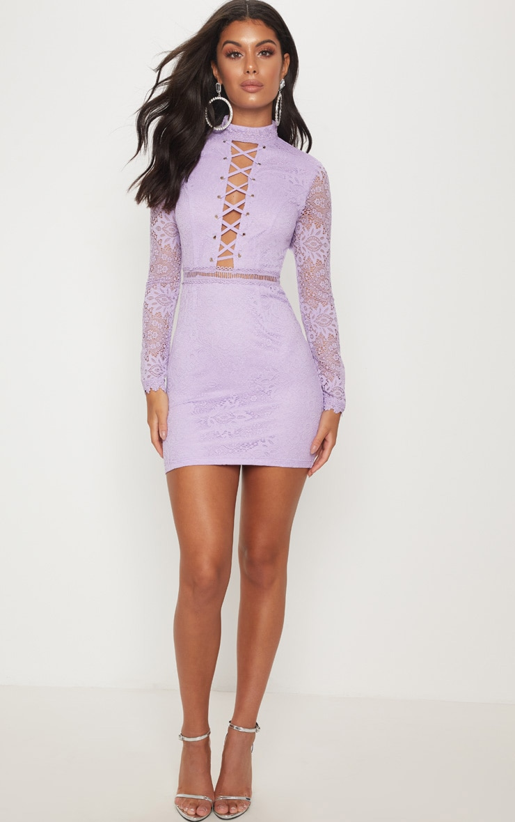 Lilac High Neck Lace Up Bodycon Dress 4