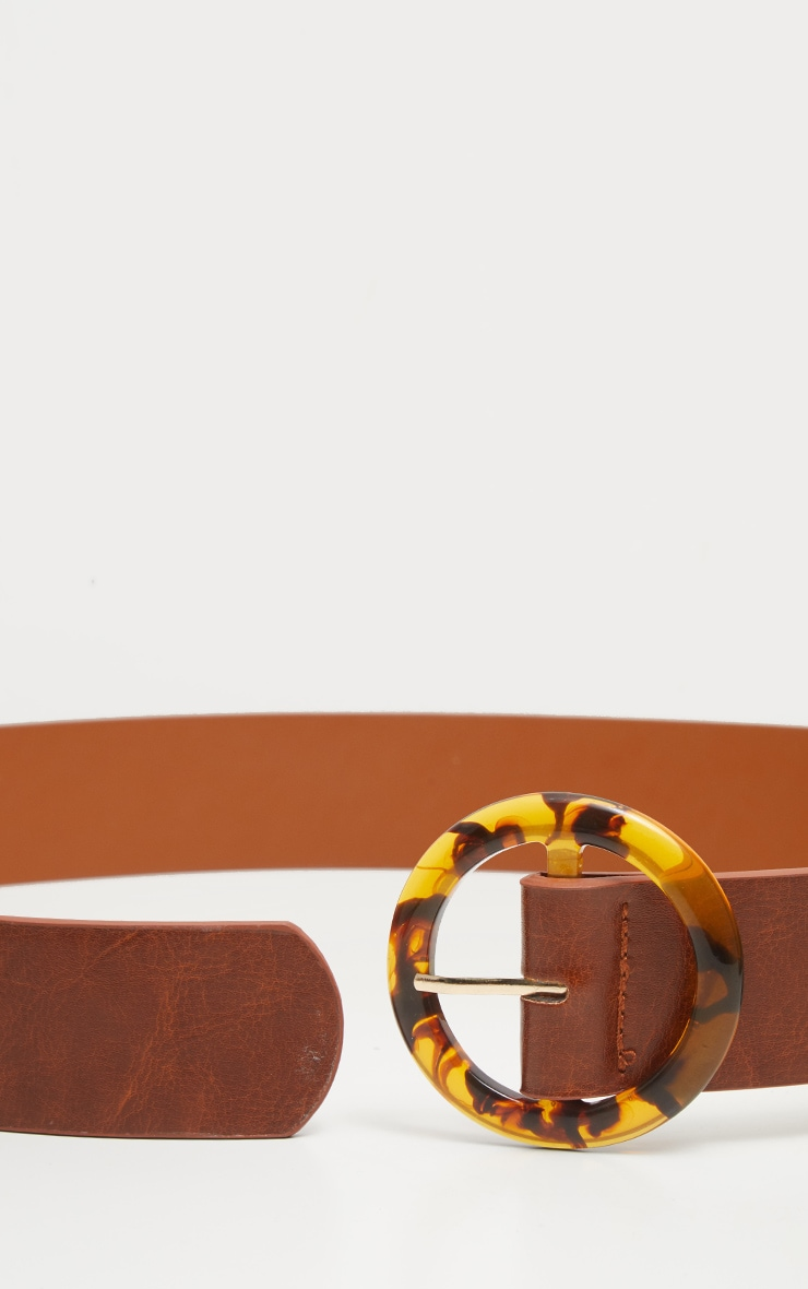 Brown Round Tortoiseshell Buckle Belt 4
