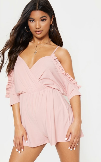 ccad78704b9 Baby Pink Cold Shoulder Frill Detail Plunge Playsuit. More colours available