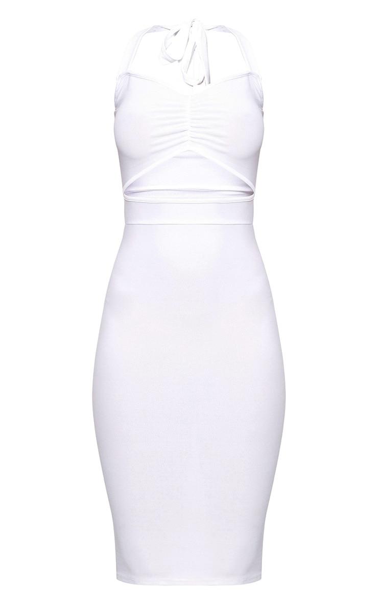 White Halterneck Midi Dress 3