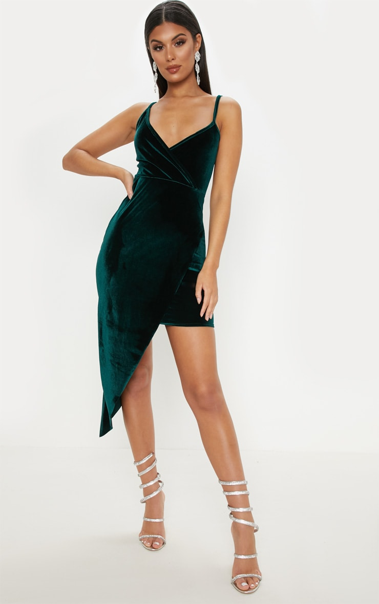 Emerald Green Velvet Draped Midi Dress 1