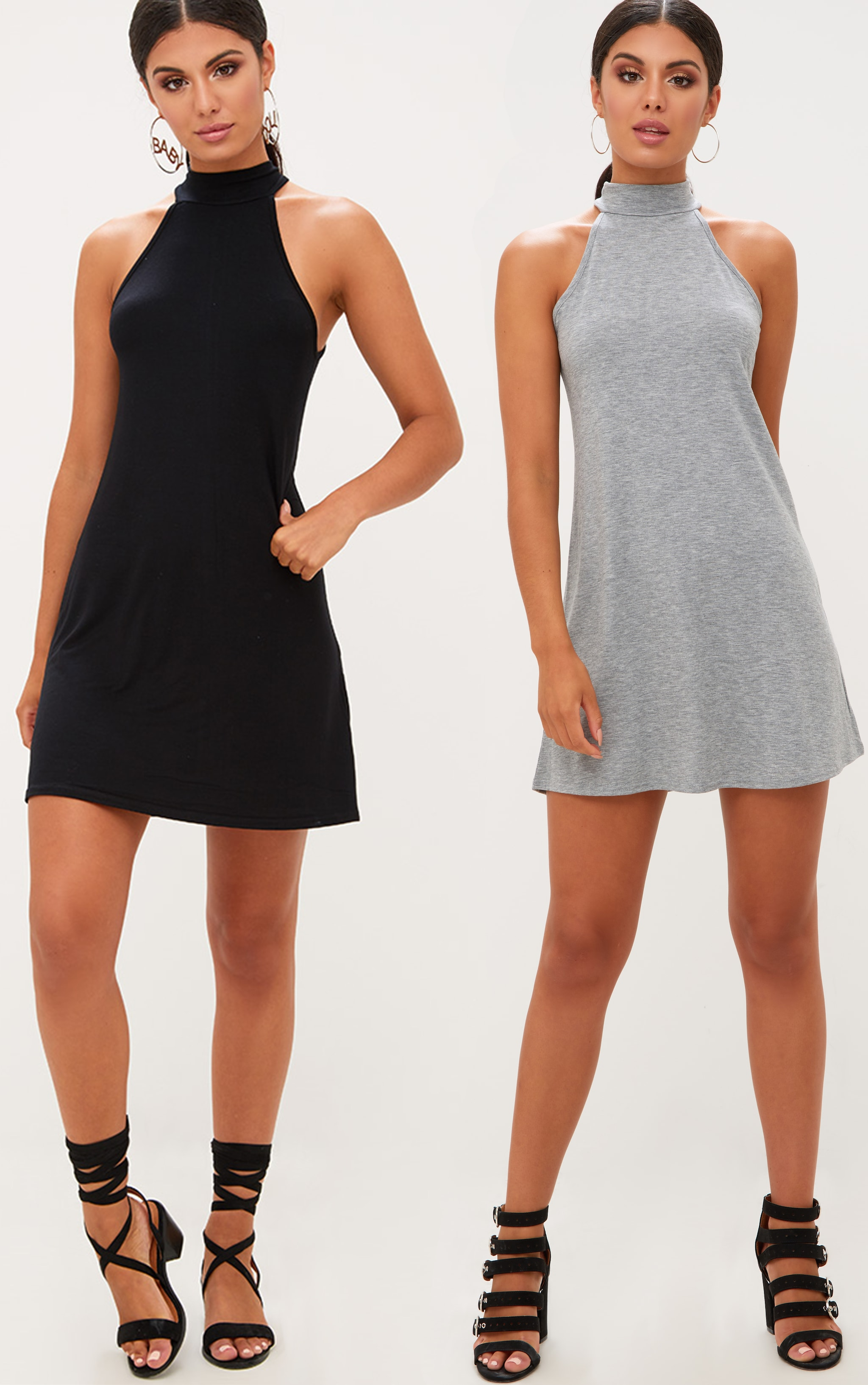 2 Pack Black & Grey Jersey High Neck Swing Dress 1